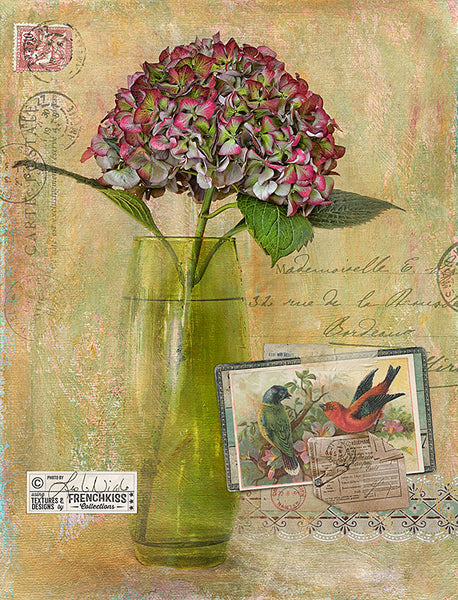 Digital photo collage by Leslie Nicole using a trade card from Vintage Birds No.7.