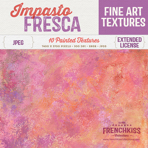 Impasto Fresca collection of painted textures in vibrant colors. Commercial license.