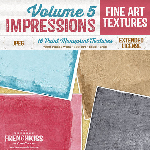 Impressions Volume 5 fine art monoprint painted texture collection.