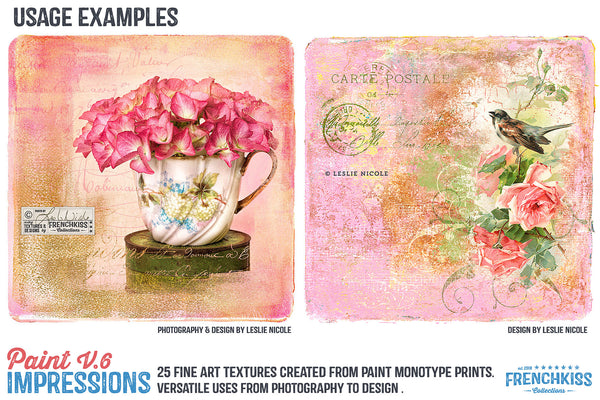 Design and photography examples using the Paint Impressions V.6 texture collection.