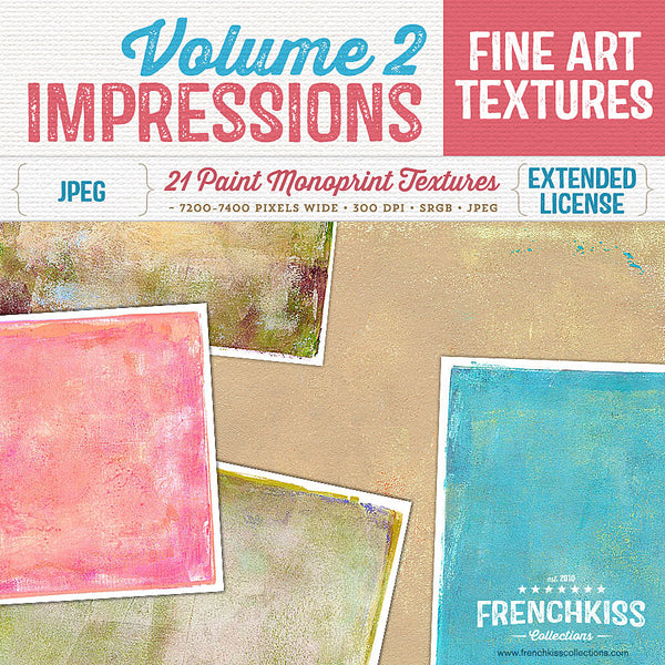 Fine art textures created from original paint monotypes. High resolution painterly textures with artistic edges. Over 7000 pixels wide. Commercial license.