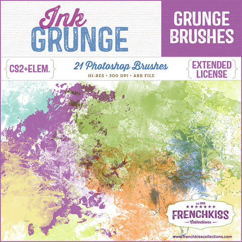 French Kiss Collections Ink Grunge Photoshop brushes.