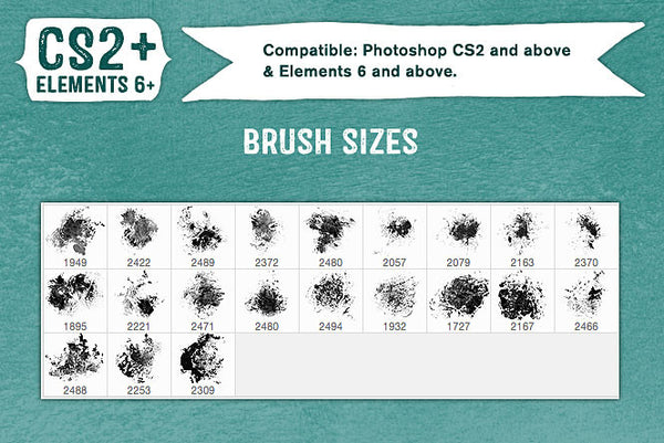 French Kiss Collections Ink Grunge Photoshop brush sizes.