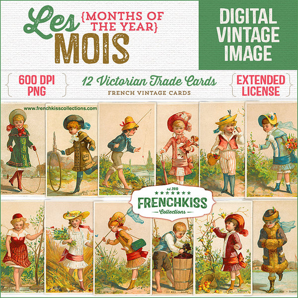 Charming illustrations of girls and boys enjoying seasonal activities depicting each of the 12 months of the year. Scanned from original vintage French trade cards from the late 1800s.