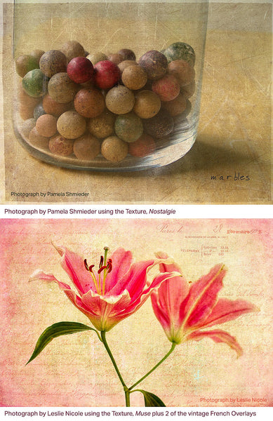 Textured photography examples using the Les Textures 2 Collection.