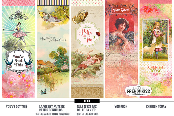 5 vintage inspired bookmarks printable with positive messages.