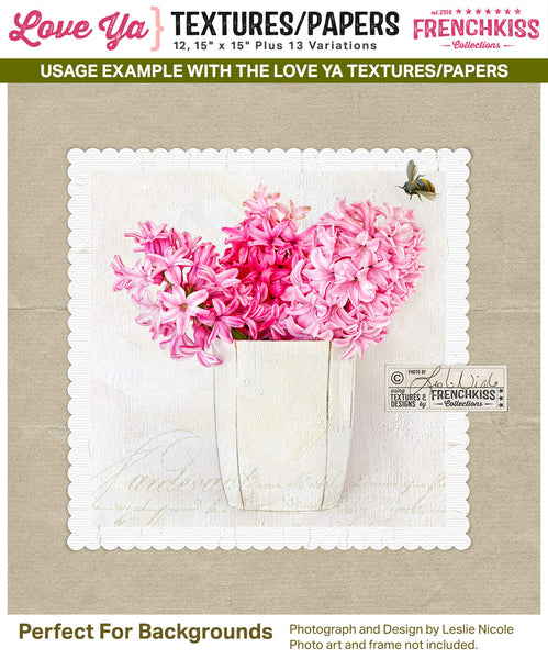 Usage example showing a texture / digital paper from the Love Ya collection as a background for a photograph.