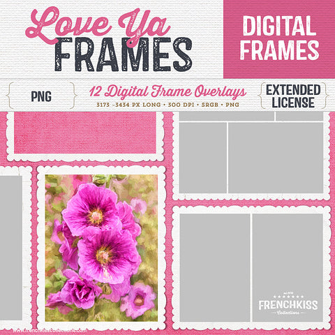 12 soft white canvas textured digital frames with scalloped edges. Commercial Use.