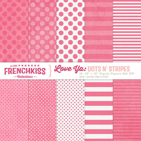 Love Ya Dots n Stripes Digital Papers