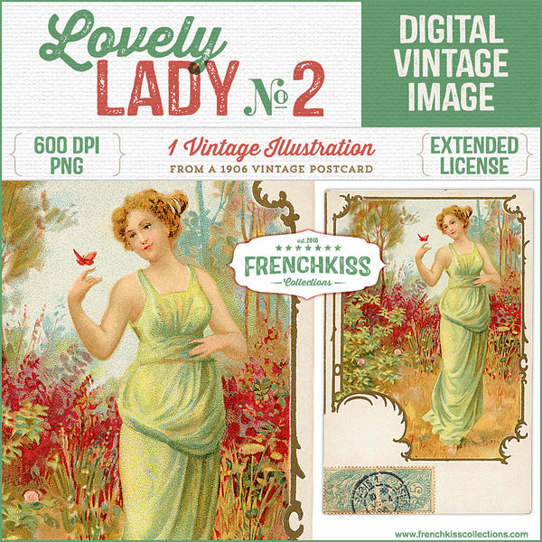 Vintage French digital download postcard with an illustration of a lady with a butterfly in the garden.