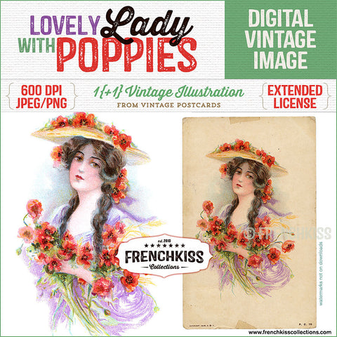 Lovely Lady with poppies vintage digital image and postcard by French Kiss Collections.