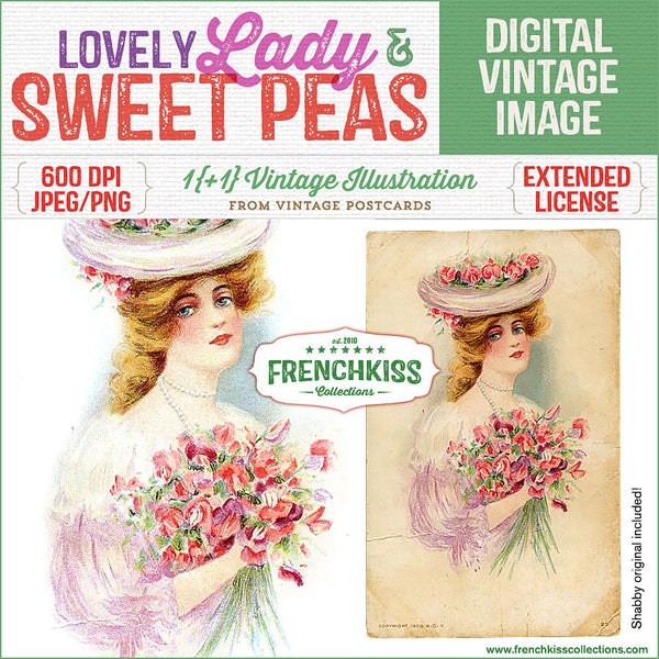 Digital vintage image of a lovely lady with gathered sweet pea flowers in her arms and on her hat.