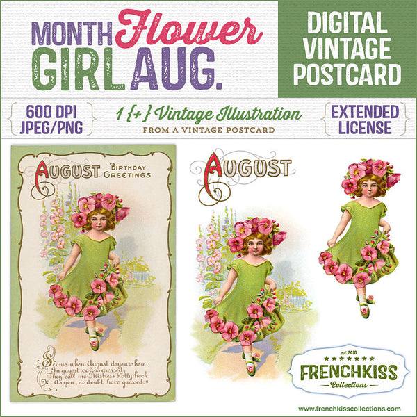 Delightful August birthday vintage postcard digital download with an illustration of a girl dressed as a hollyhock flower.