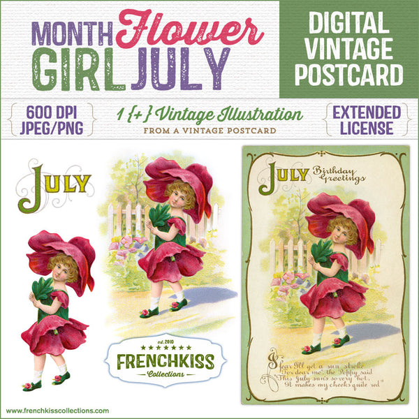 Delightful July birthday vintage postcard with an illustration of a girl dressed as poppy flower.