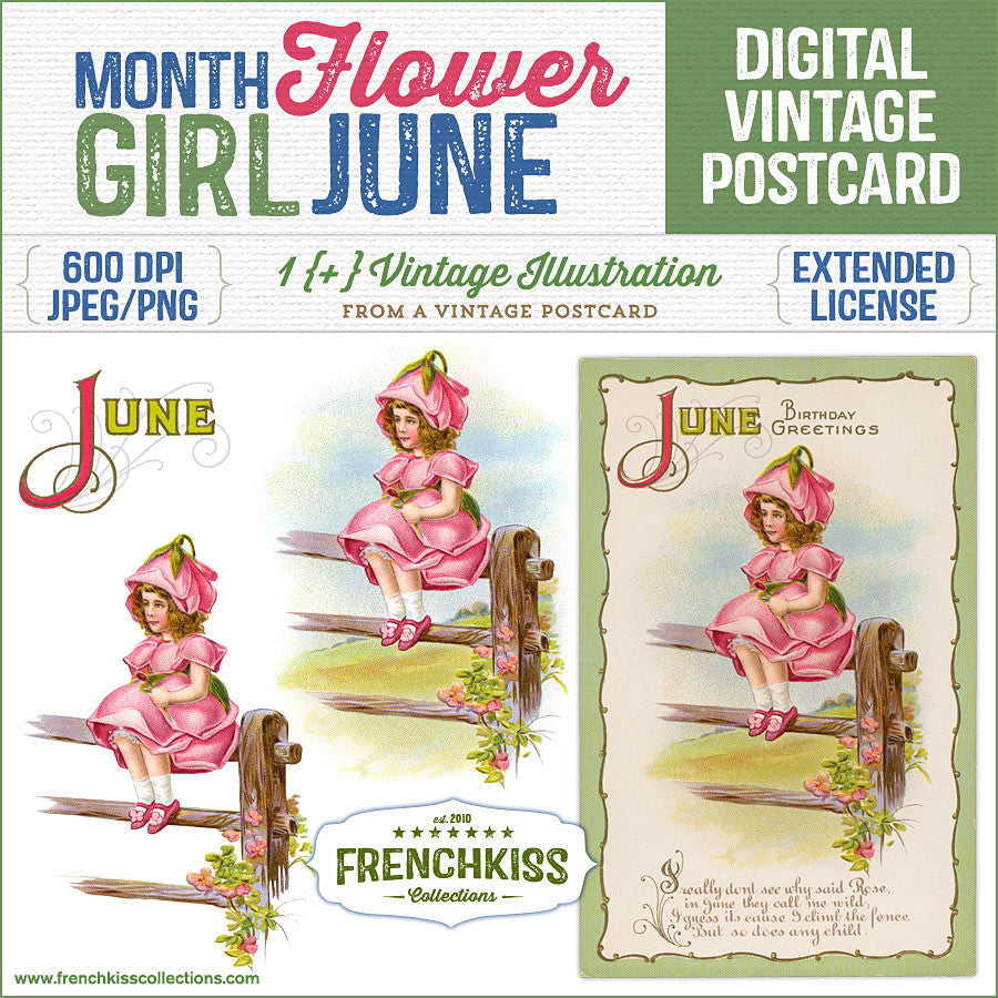 Month Flower Girl Digital Vintage Postcard June French Kiss