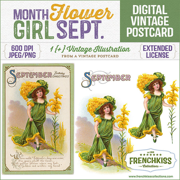 Delightful September birthday vintage postcard digital download with an illustration of a girl dressed as a goldenrod flower.