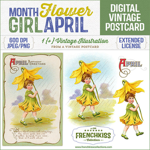 Delightful vintage postcard April birthday greeting with an illustration of a girl dressed as a jonquil flower and carrying a jonquil parasol.