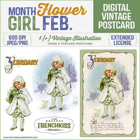 Month Flower Girl Digital Vintage Postcard February