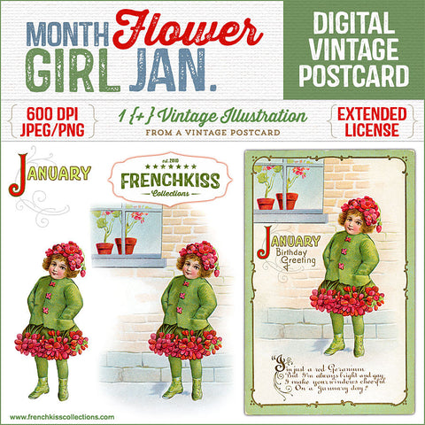 Whimsical January birthday greeting with a girl dressed as a red geranium. These delightful postcards were published in 1914 by Nash. 600 DPI, extended license.