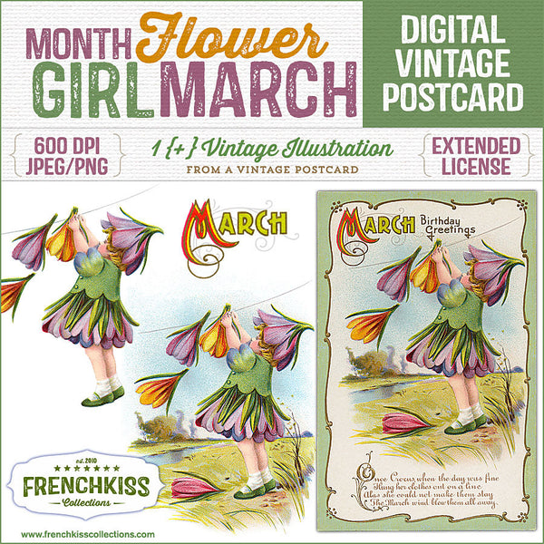 Delightful vintage postcard March birthday greeting with an illustration of a girl dressed as a crocus flower.