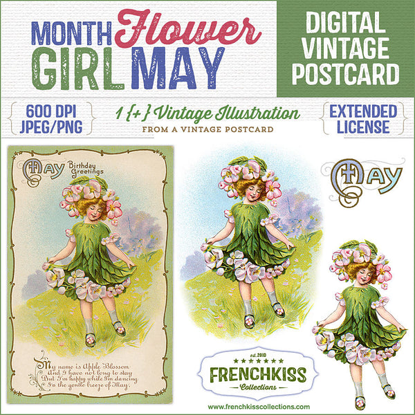 Delightful vintage postcard May birthday greeting with an illustration of a girl dressed as an apple blossom flower.