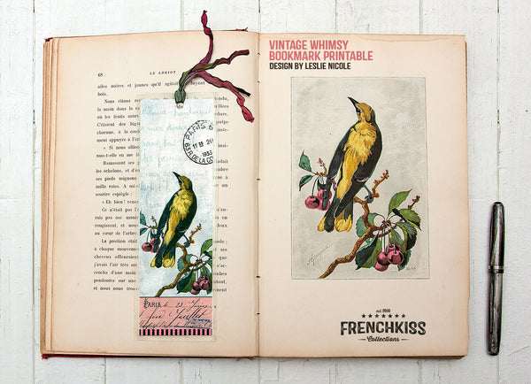 Vintage bird design bookmark printable.