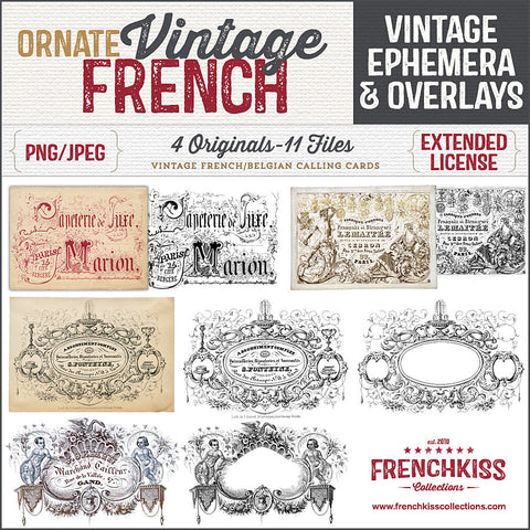 Vintage French ephemera and overlay digital downloads from ornate calling cards.
