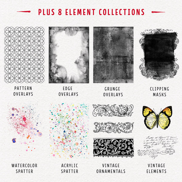The 8 Element Collections in The Complete Inspirational Textures and Elements Collection.