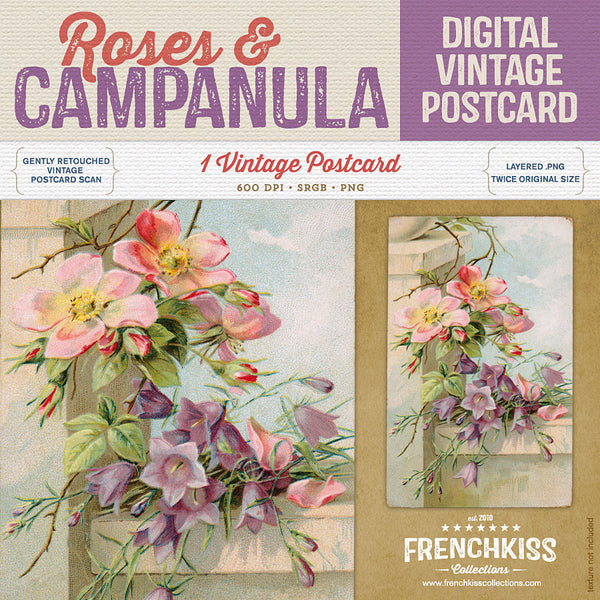Roses and Campanula Digital Vintage Postcard