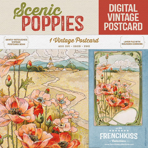 Scenic Poppies Digital Vintage Postcard