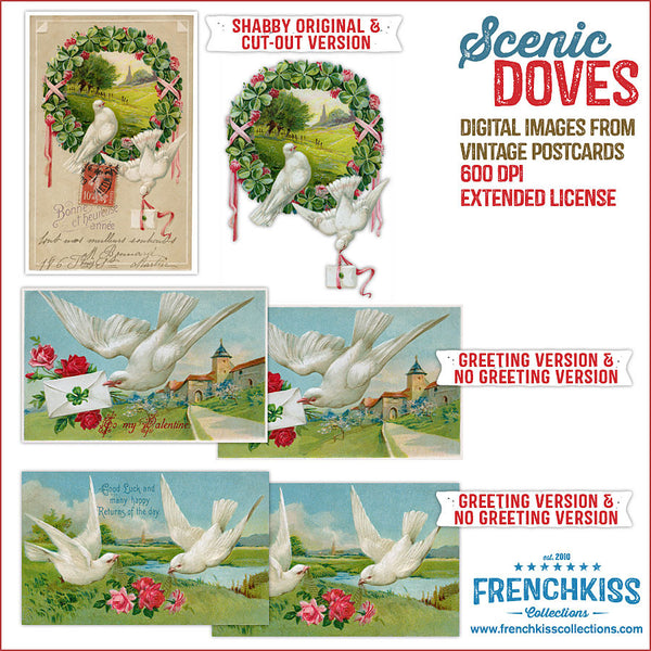Scenic Doves Digital Vintage Postcard downloads all versions..