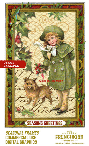 Design example using the Season Frames digital graphics from Victorian Trade Cards.