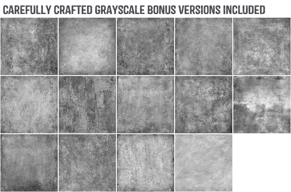 Bonus grayscale painted, grunge, fine art texture versions.