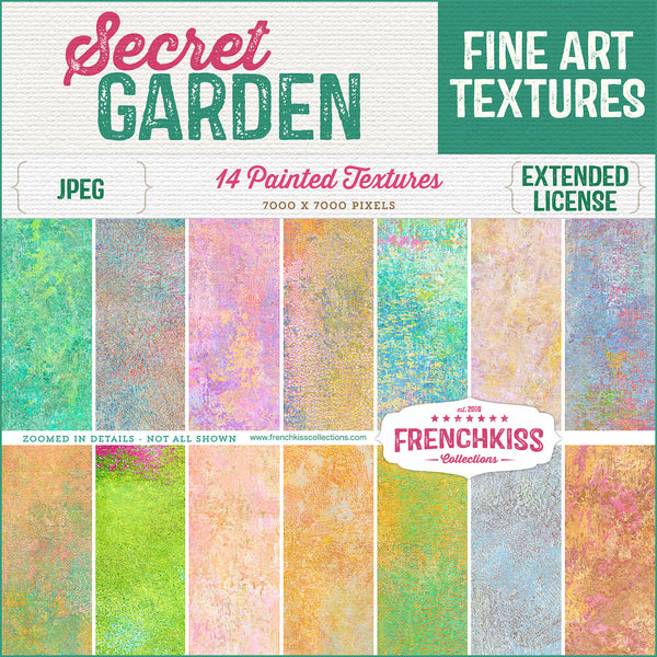 Secret Garden fine art painted commercial license textures.