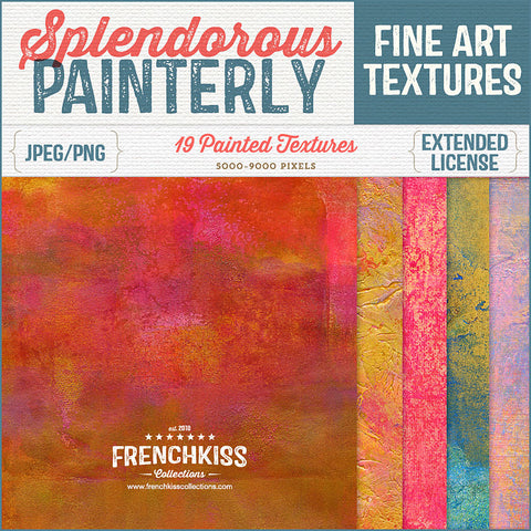 Splendorous Painterly commercial use Texture Collection with hints of metallic color.