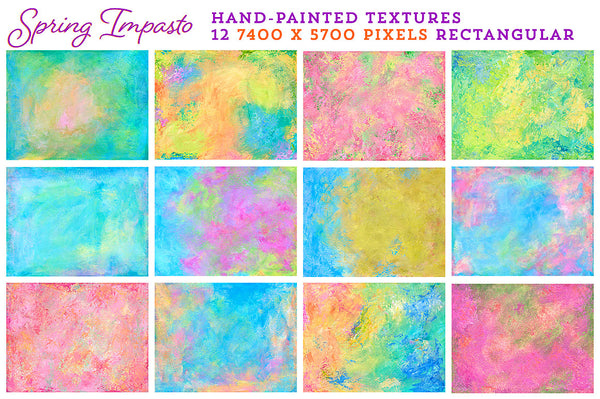 Spring Impasto hand-painted, fine art textures for commercial use. Rectangular versions.