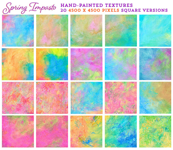 Spring Impasto hand-painted, fine art textures for commercial use. Square versions.
