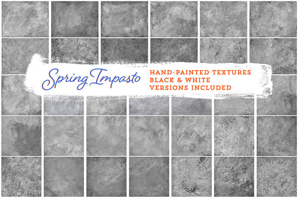 Spring Impasto hand-painted, fine art textures for commercial use. Black and White versions.