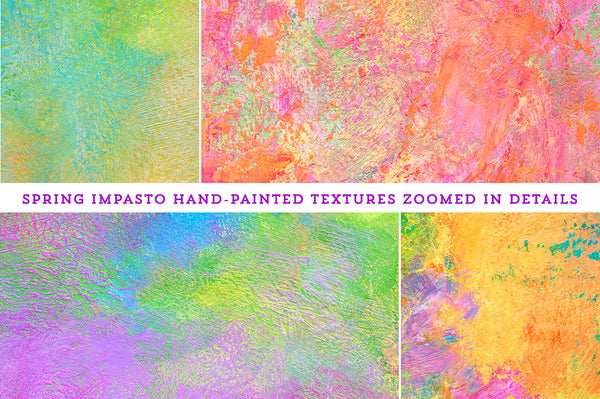 Details from the Spring Impasto hand-painted, fine art textures for commercial use.