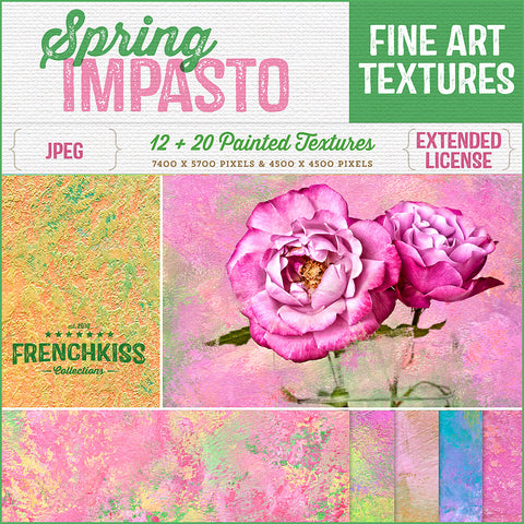 Spring Impasto hand-painted, fine art textures for commercial use.