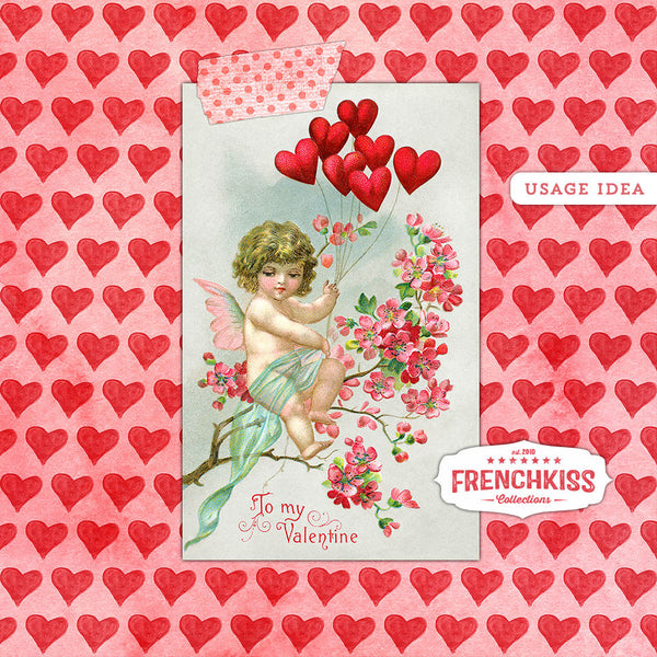 Usage idea for vintage Valentine cherub postcard digital collage sheet.