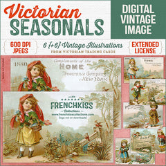 Victorian Seasonals digital illustrations from Victorian trading cards of children in changing seasons.