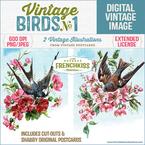 Illustrations from vintage postcards of birds flying with bouquets of flowers in their beaks.