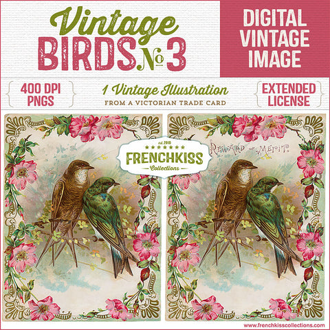 Illustration from a Victorian trade card of birds on a branch surrounded by a wild rose frame.