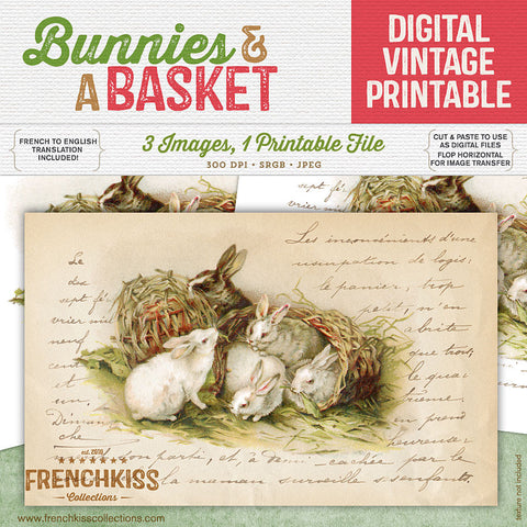 Bunnies and a basket vintage printable with French hand-writing.