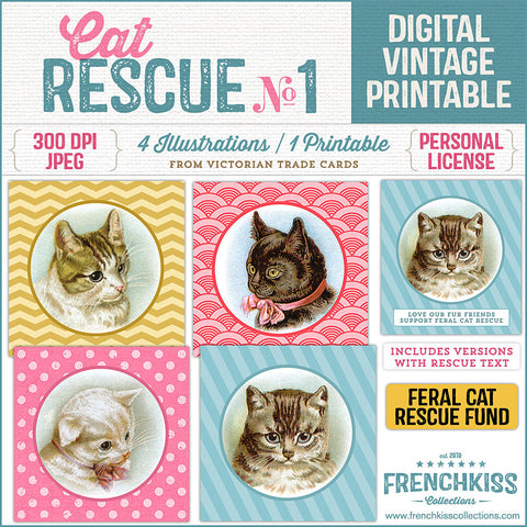 Digital download printable of vintage cat illustrations benefiting feral cat rescue.