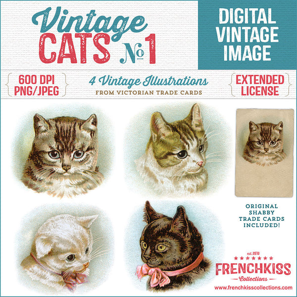 Digital vintage cat illustrations from Victorian Trade Cards benefiting cat rescue.