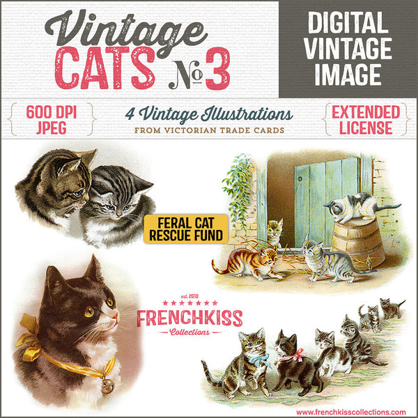 A variety of vintage cat illustrations from Victorian Trade Cards. All Proceeds from this product go to animal rescue.