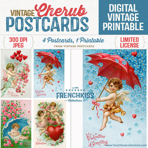 Four gorgeous vintage cherub Valentine postcards at original size on one digital collage sheet.