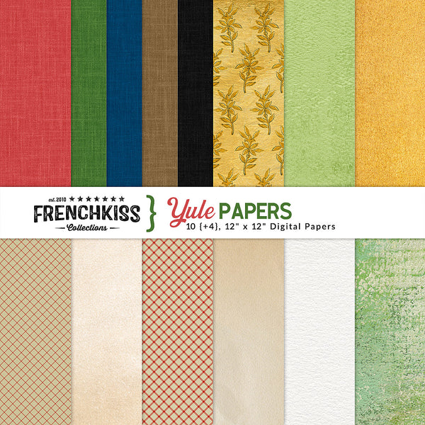 Yule Digital Papers created especially for this vintage Christmas collection.